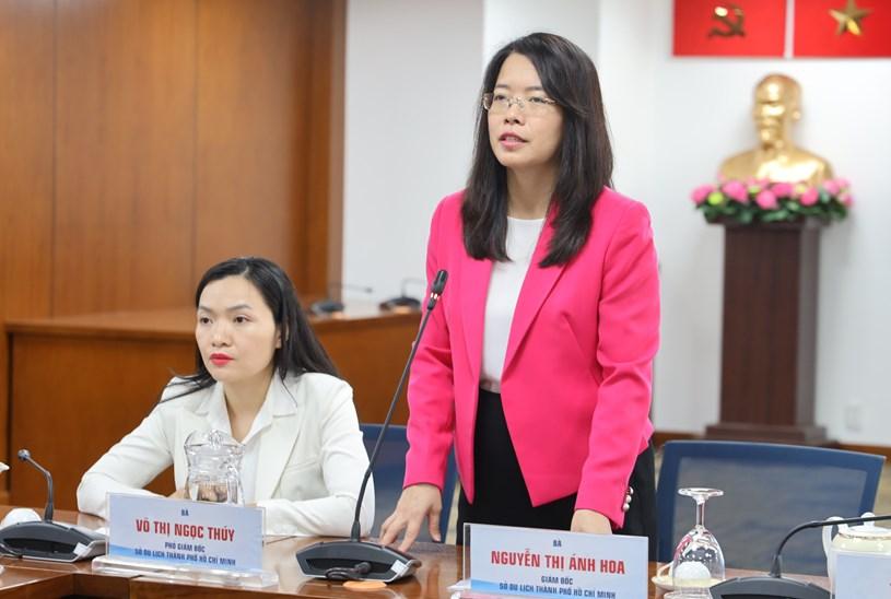 Giám đốc Sở Du lịch TP Nguyễn Thị Ánh Hoa phát biểu tại họp báo. Ảnh: Khang Minh