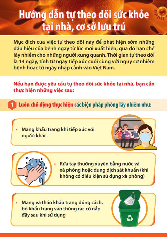 Hướng dẫn cách ly - tự theo dõi sức khỏe tại nhà hoặc cơ sở lưu trú - Ảnh 5