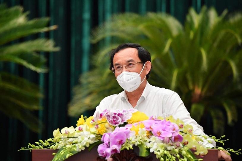 Bí thư Thành ủy TP Nguyễn Văn Nên phát biểu bế mạc tại Hội nghị. Ảnh: Việt Dũng
