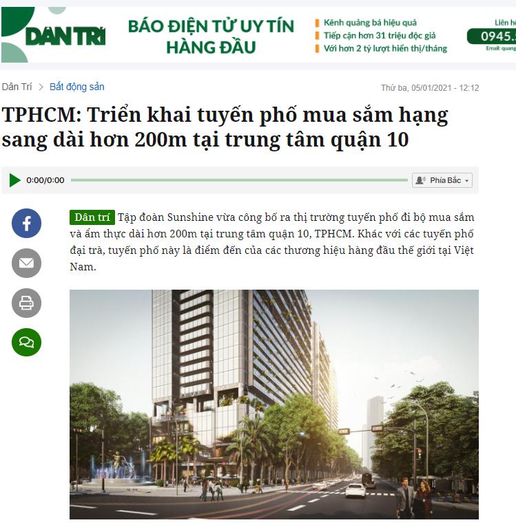 Thông tin trên báo Dân Trí - Ảnh chụp màn hình