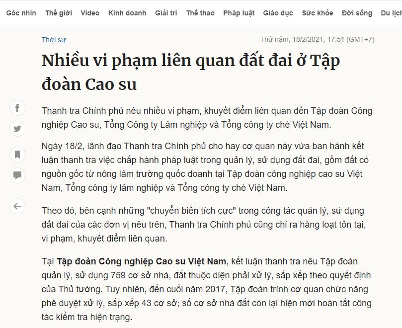 Thông tin về Tập đoàn Cao su trên báo online. Ảnh chụp màn hình.