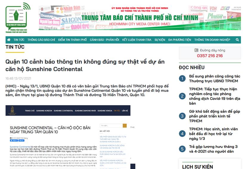 Thông tin đăng tải trên website của Trung tâm Báo chí TP ngày 13/1. Ảnh chụp màn hình