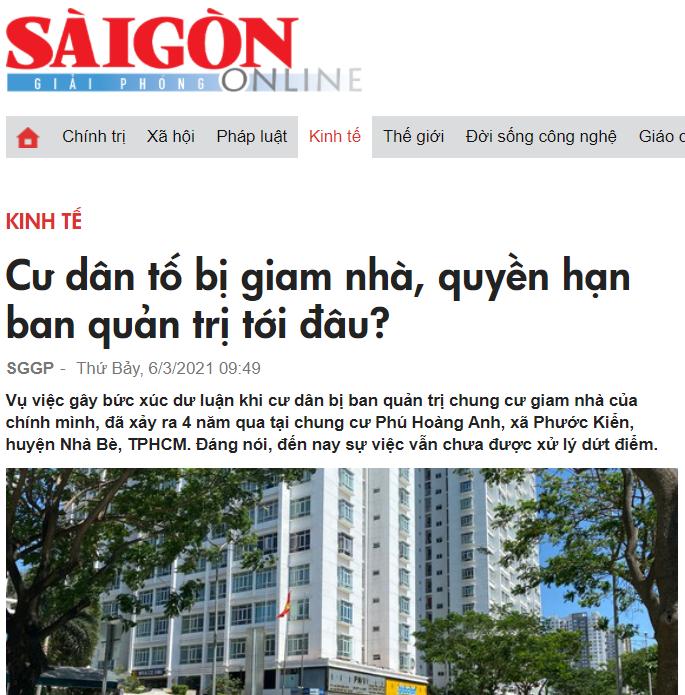 Thông tin về căn hộ Cao ốc Phú Hoàng Anh được đăng trên một số báo ngày 5/3 và 6/3. Ảnh chụp màn hình