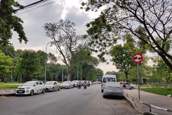 Nhiều ô tô đậu từng hàng dài hai bên đường Đặng Văn Sâm,quận Tân Bình. Ảnh: BÙI TUẤN