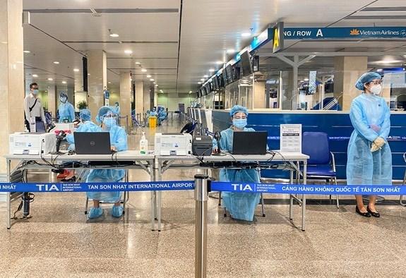 Khu vực bố trí lấy mẫu xét nghiệm COVID-19 của Bệnh viện Đa khoa Tâm Anh tại sân bay Tân Sơn Nhất