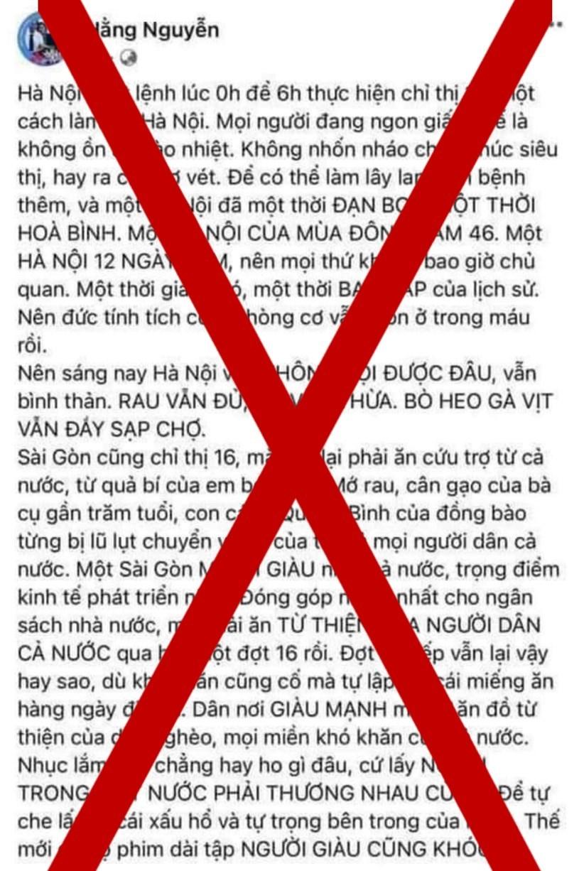 """Bài viết trên tài khoản facebook """"Hằng Nguyễn"""" có nội dung ảnh hưởng đến trật tự xã hội, gây hoang mang trong nhân dân"""