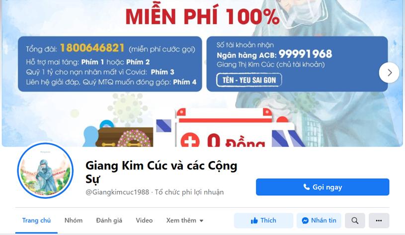 """Trang fanpage """"Giang Kim Cúc và các Cộng Sự"""". Ảnh chụp màn hình"""