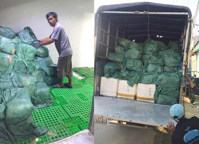 Hàng hóa thực phẩm không có hóa đơn chứng từ chứng minh nguồn gốc được chứa trong kho được chuyển lên xe đem xử lý theo quy định. Ảnh:BATTP TP.HCM.