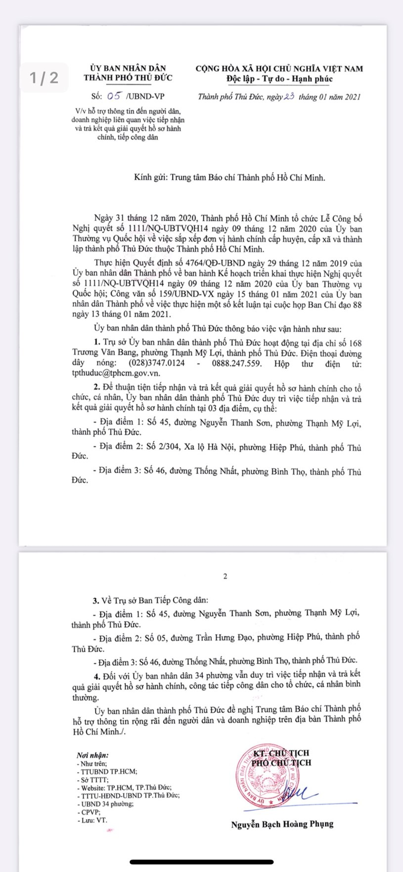 Nội dung văn bản số 05/UBND - VP của UBND TP Thủ Đức