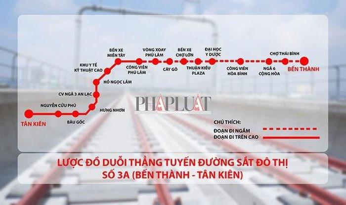 Sơ đồ tuyến metro số 3A. Đồ họa: VÕ NGUYÊN