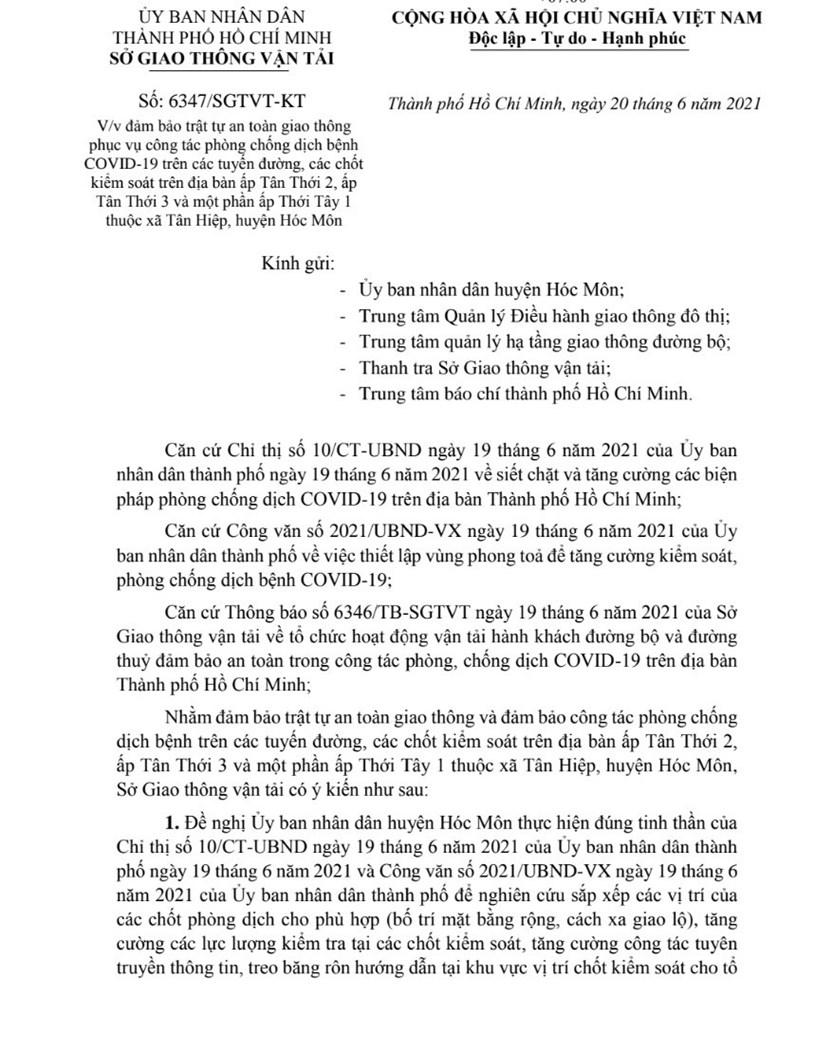 Một số lộ trình lưu thông thay thế khi đi qua các địa bàn phong tỏa của huyện Hóc Môn - Ảnh 1
