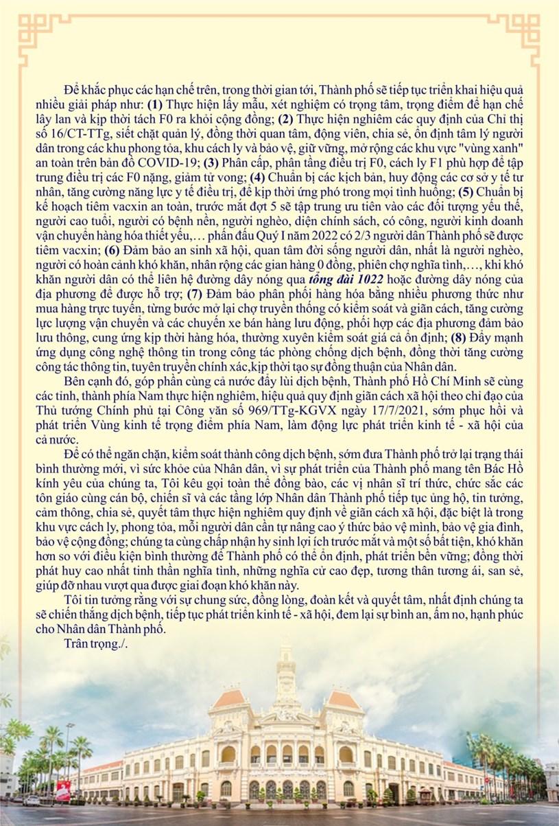 Thư kêu gọi của Chủ tịch UBND TPHCM Nguyễn Thành Phong gửi Nhân dân TPHCM - Ảnh 2