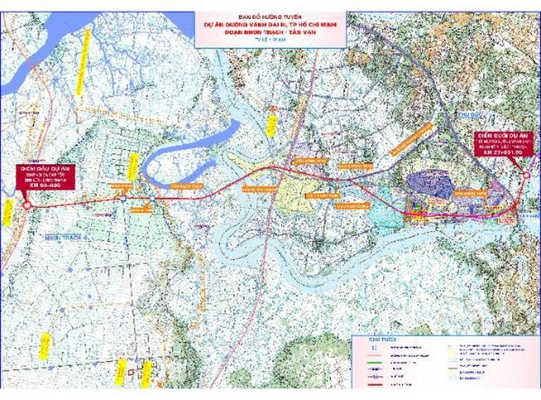 Bản đồ hướng tuyến đường vành đai 3, đoạn Tân Vạn - Nhơn Trạch. Ảnh: CIPM cung cấp