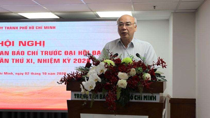 Ủy viên BTV Thành ủy, Trưởng Ban Tuyên giáo Thành ủy Phan Nguyễn Như Khuê thông tin về công tác chuẩn bị Đại hội. Ảnh: Khang Minh