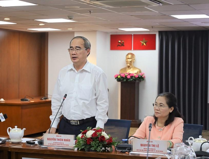 Ủy viên Bộ Chính trị, Bí thư Thành ủy TPHCM Nguyễn Thiện Nhân phát biểu. Ảnh: Khang Minh