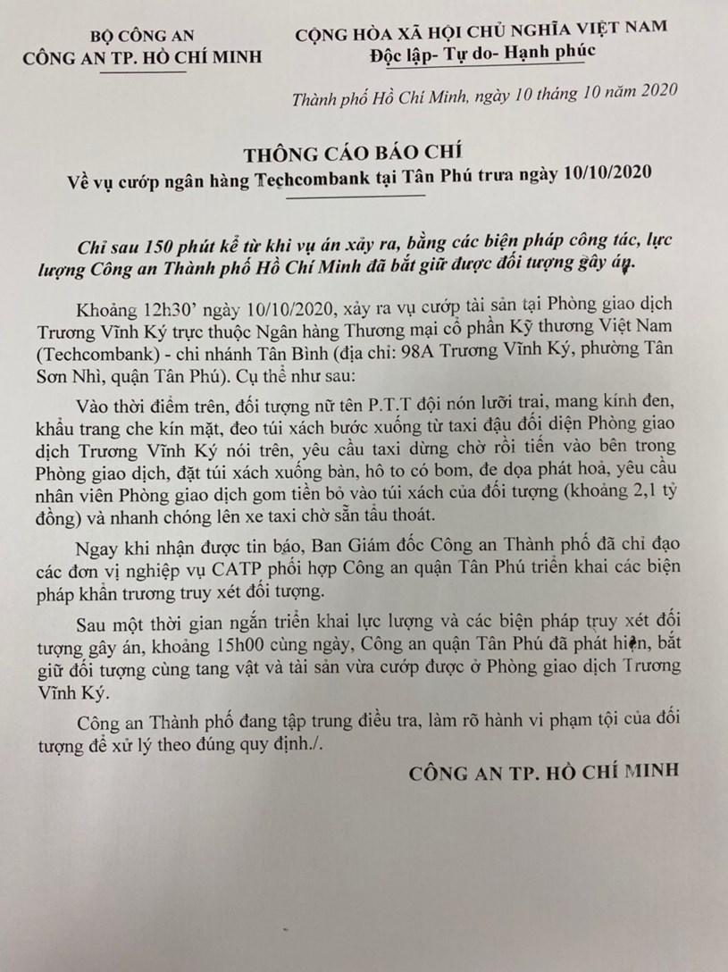 Công an TPHCM cung cấp Thông cáo báo chí về vụ việc