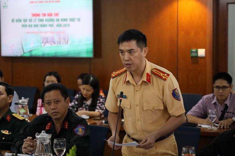 Thượng tá Huỳnh Trung Phong – Trưởng phòng Cảnh sát giao thông đường bộ - đường sắt, Công an TP thông tin thêm về buổi diễn tập