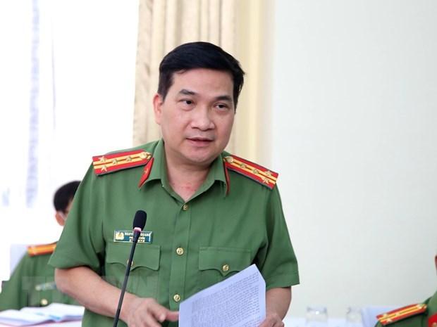 Đại tá Nguyễn Sỹ Quang, Phó Giám đốc Công an Thành phố Hồ Chí Minh trả lời câu hỏi của các cơ quan báo chí. (Ảnh: Thành Chung/TTXVN)